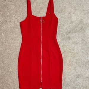 Fashion Nova Red Zipper Dress